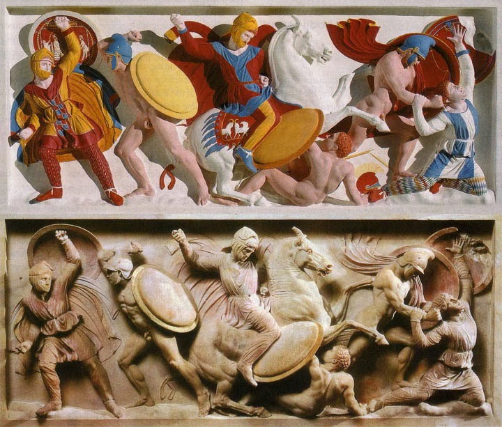 A panel from a Sarcophagus showing how it was originally colored