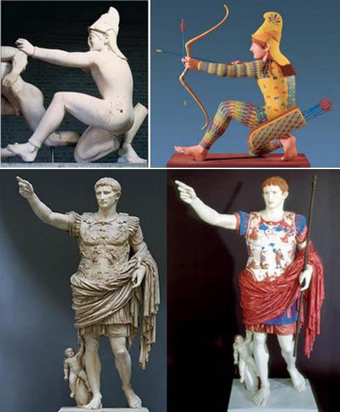 images showing colored and white roman statues